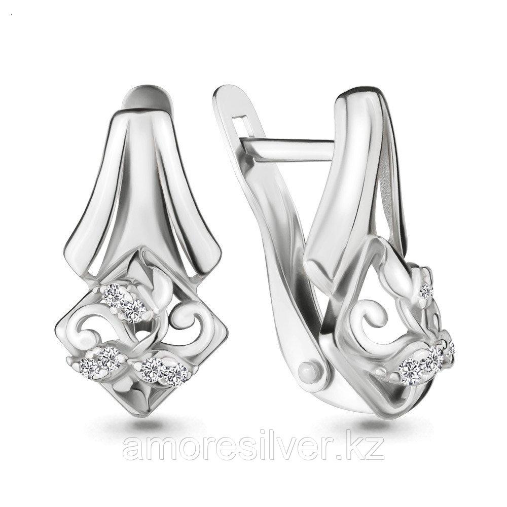 Серьги из серебра с фианитом  Aquamarine 46376А