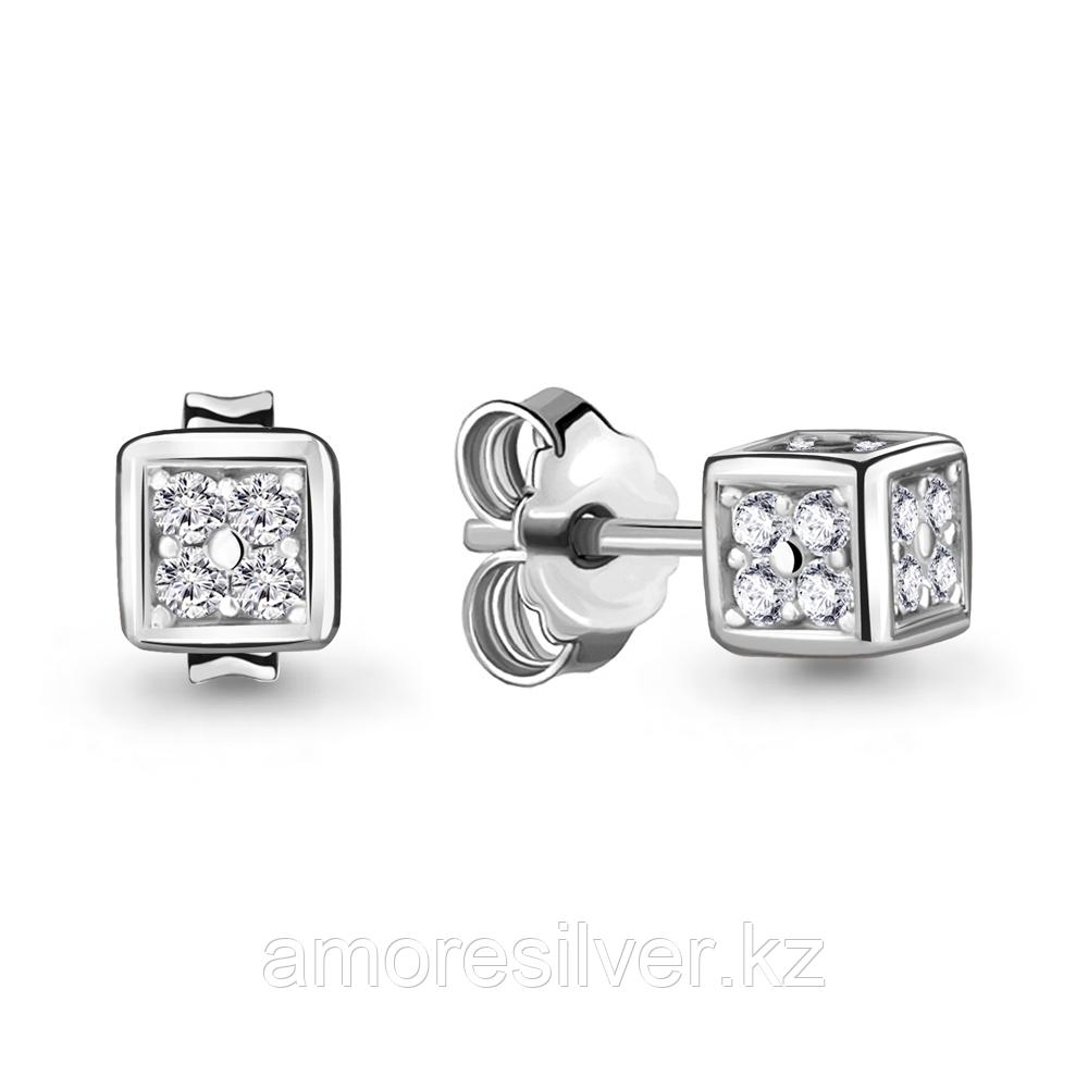 Серьги из серебра с фианитом  Aquamarine 48008А