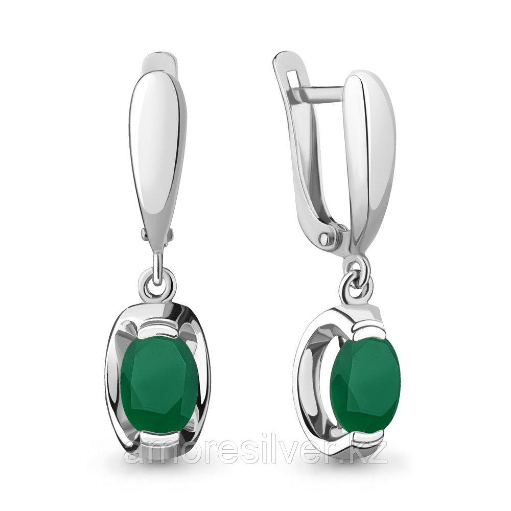 Серебряные серьги с агатом зеленым  Aquamarine 4717309