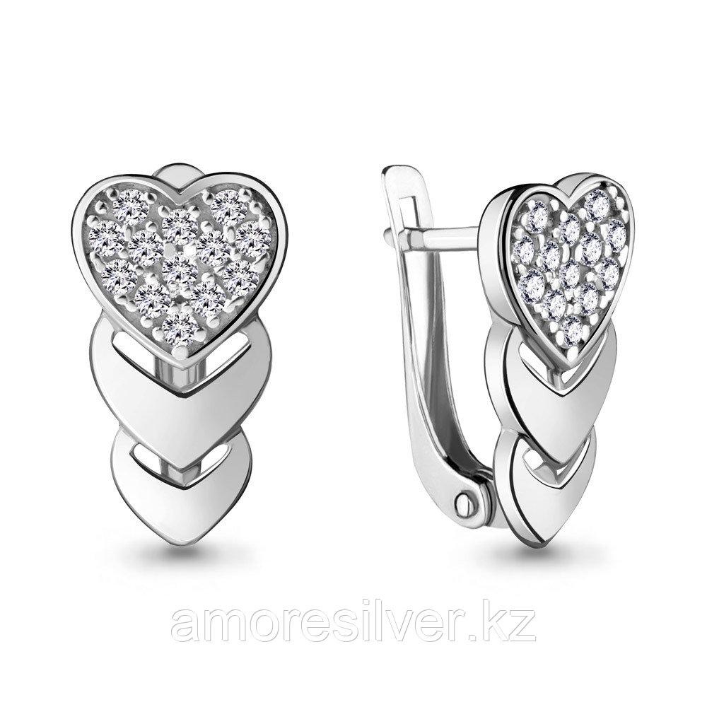 Серебряные серьги с фианитом  Aquamarine 46963А