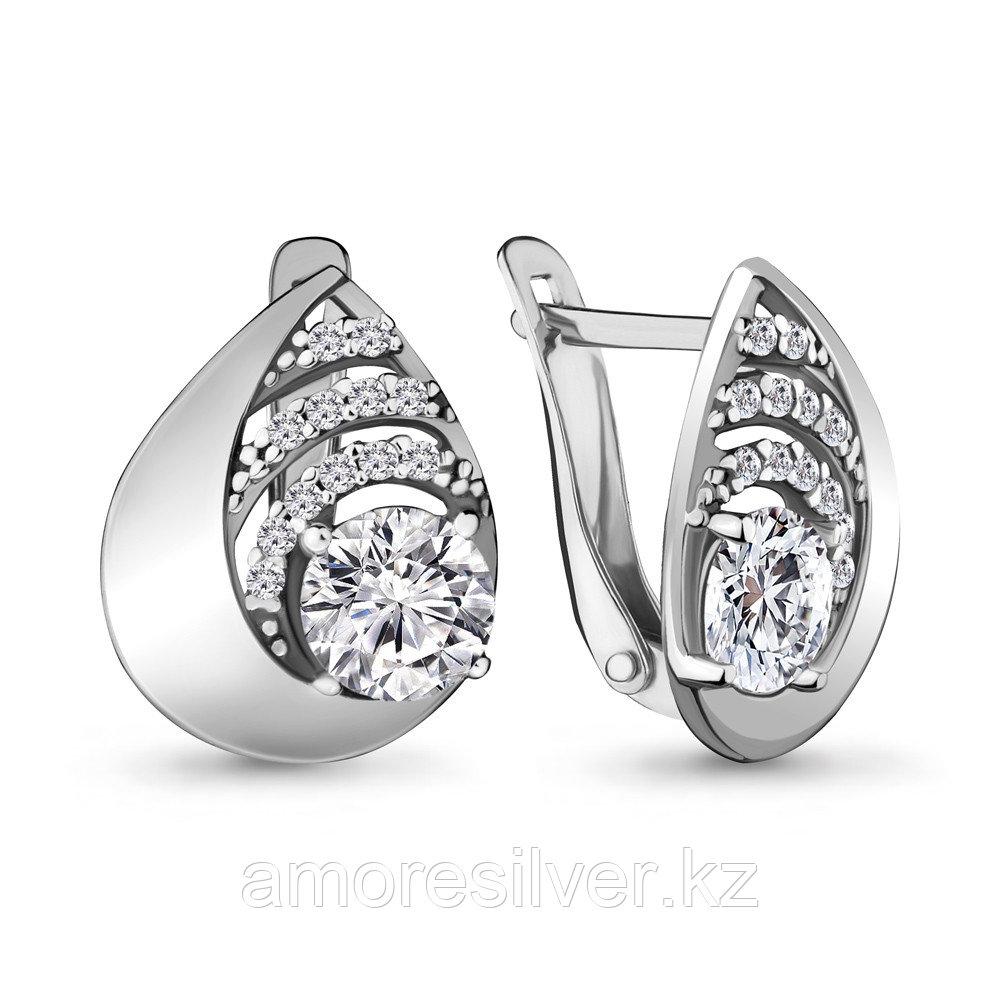 Серебряные серьги с фианитом  Aquamarine 48037А