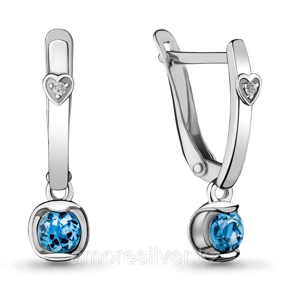 Серьги из серебра с топазом свисс и фианитом  Aquamarine 4715105А