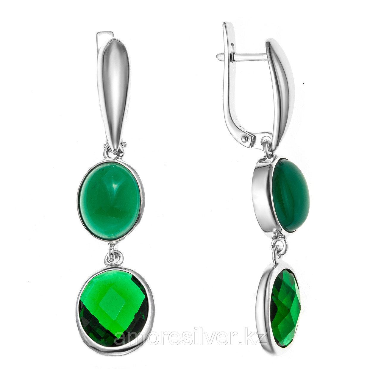 Серебряные серьги с агатом зелёным и фианитом  Teosa 2000-0315-RG