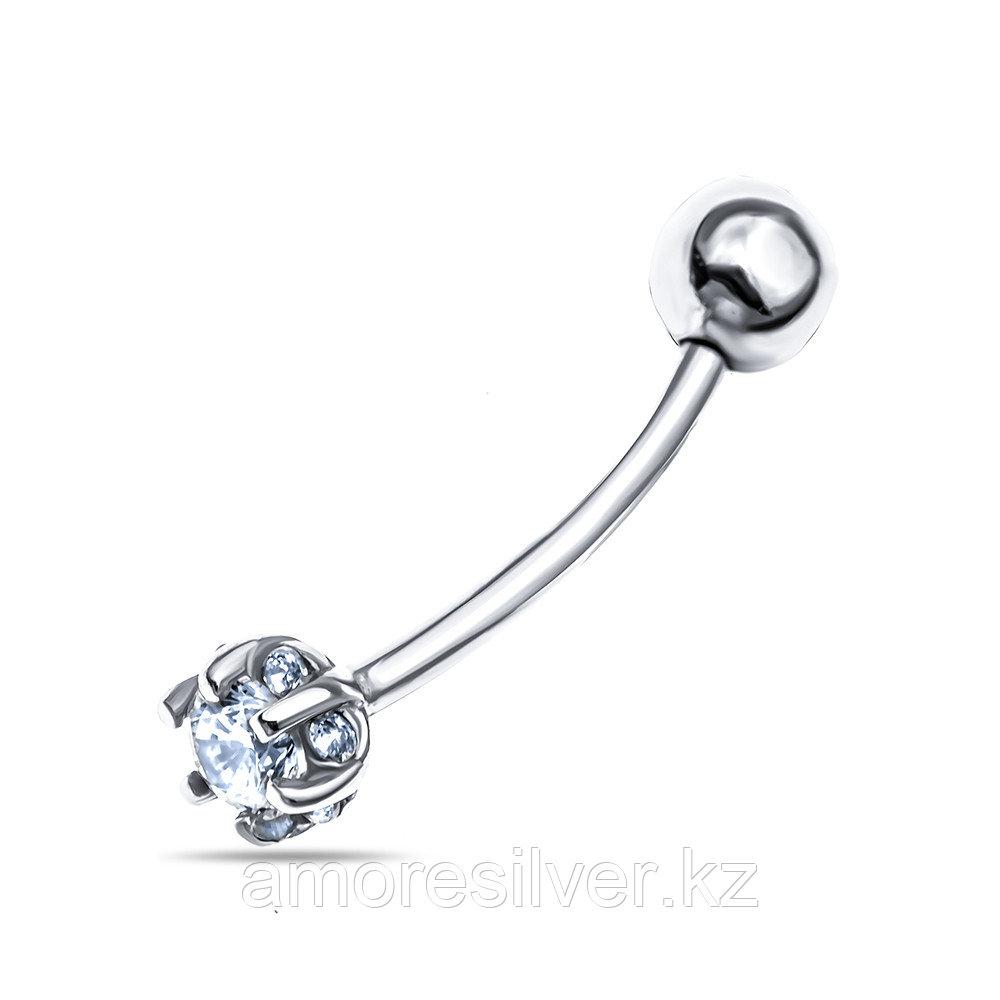 Серьги Aquamarine серебро с родием, фианит, круг 70512А