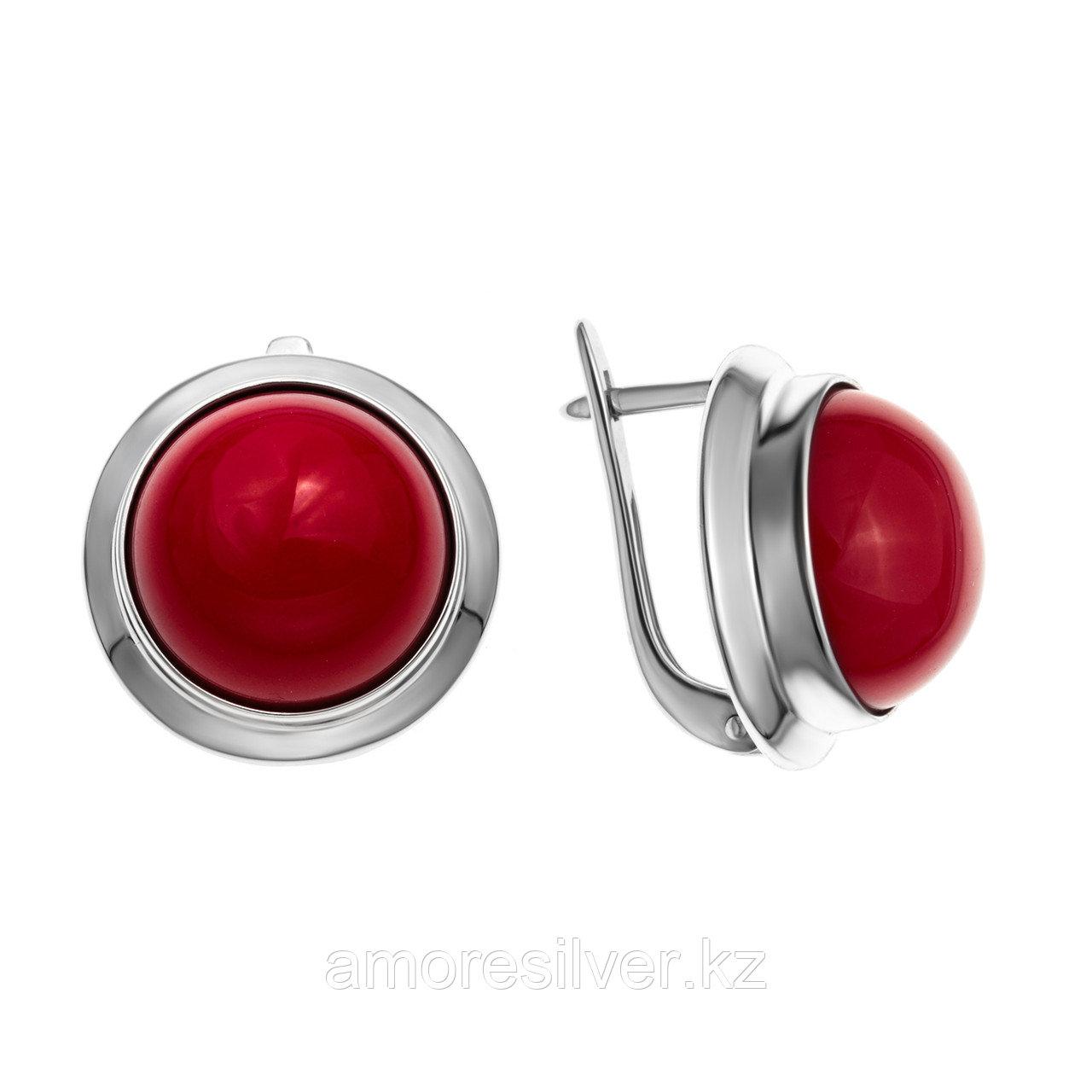 Серебряные серьги с кораллом  Приволжский Ювелир 331105-CRL