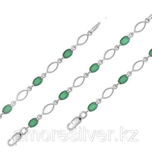 Серебряный браслет с агатом зеленым  Teosa 500-094-AG-r