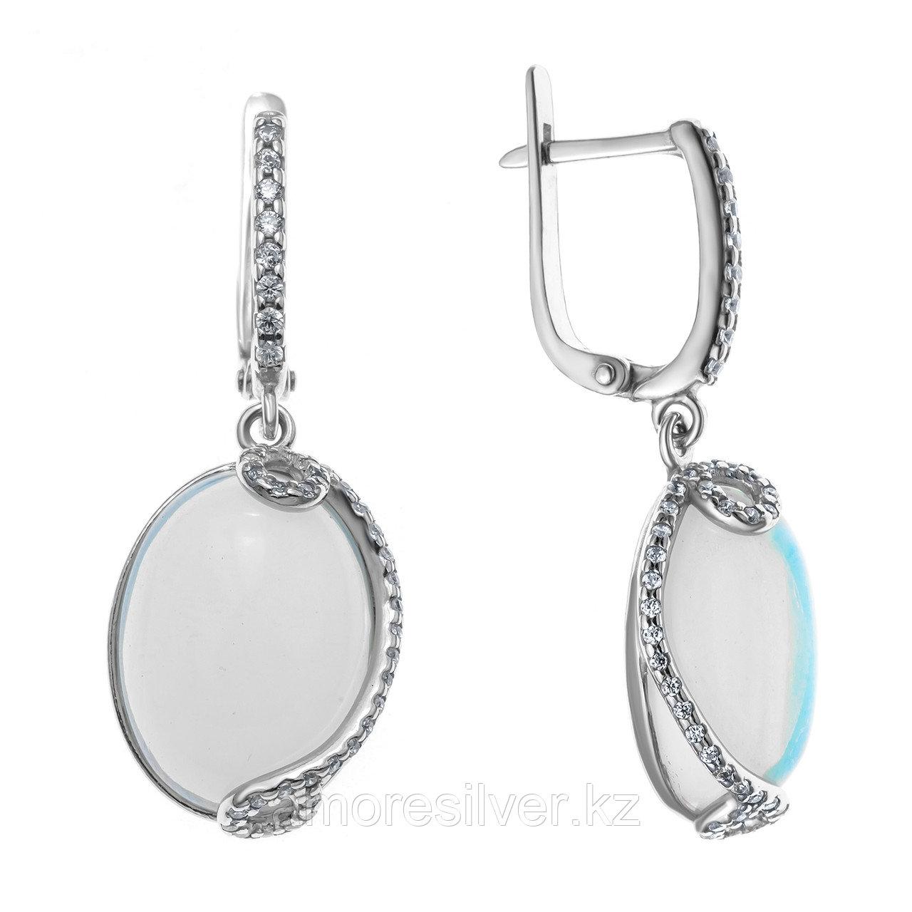 Серьги из серебра с лунным камнем  Приволжский Ювелир 351270-MNS