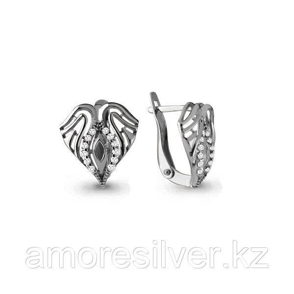 Серебряные серьги с фианитом  Aquamarine 45637А