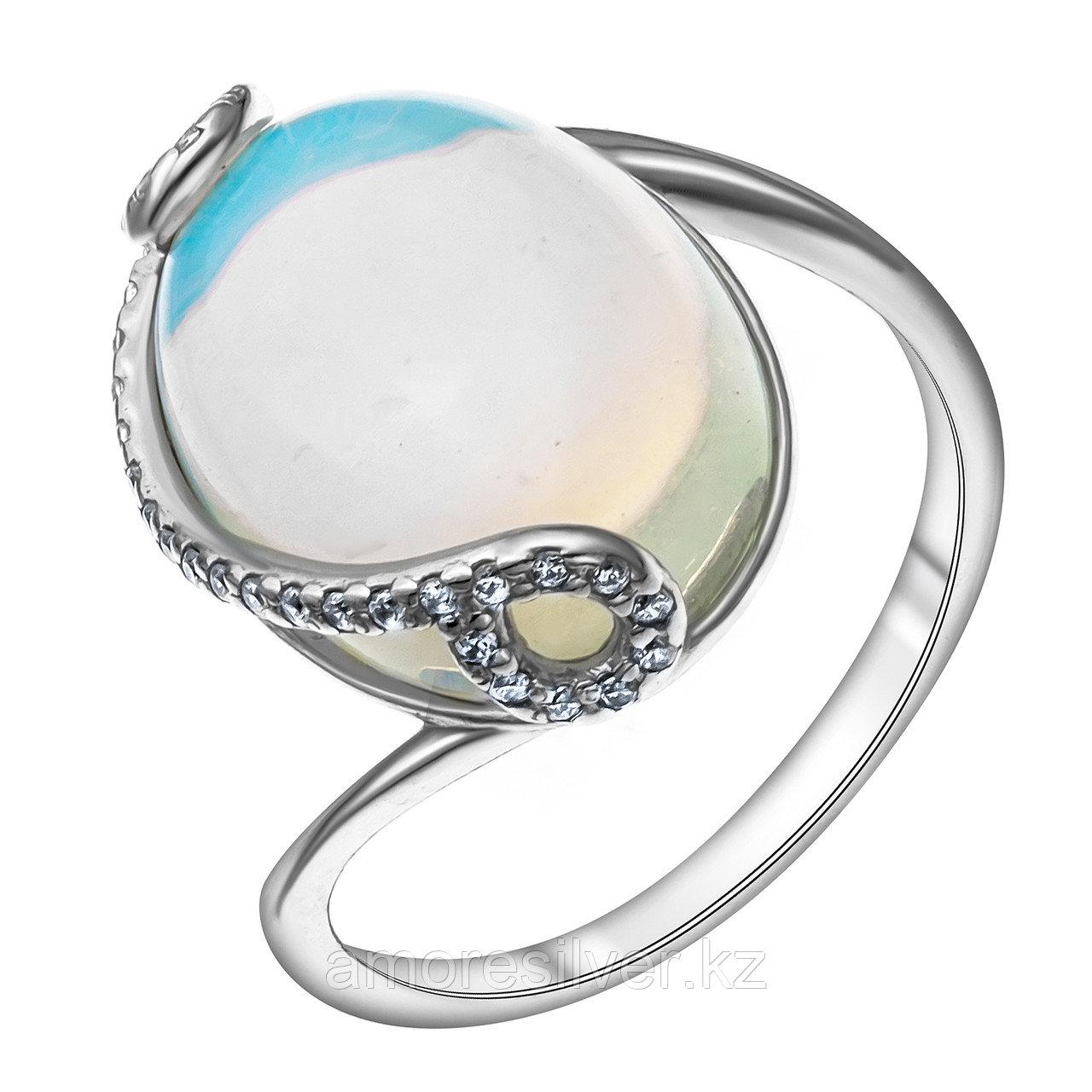 Кольцо из серебра с лунным камнем и фианитом  Приволжский Ювелир 251196-MNS