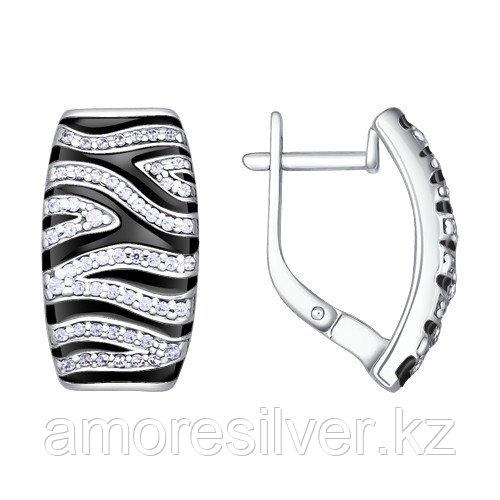 Серьги из серебра с фианитом  SOKOLOV 94020316