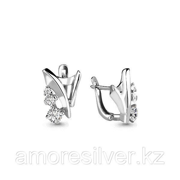 Серебряные серьги с фианитом  Aquamarine 45923А
