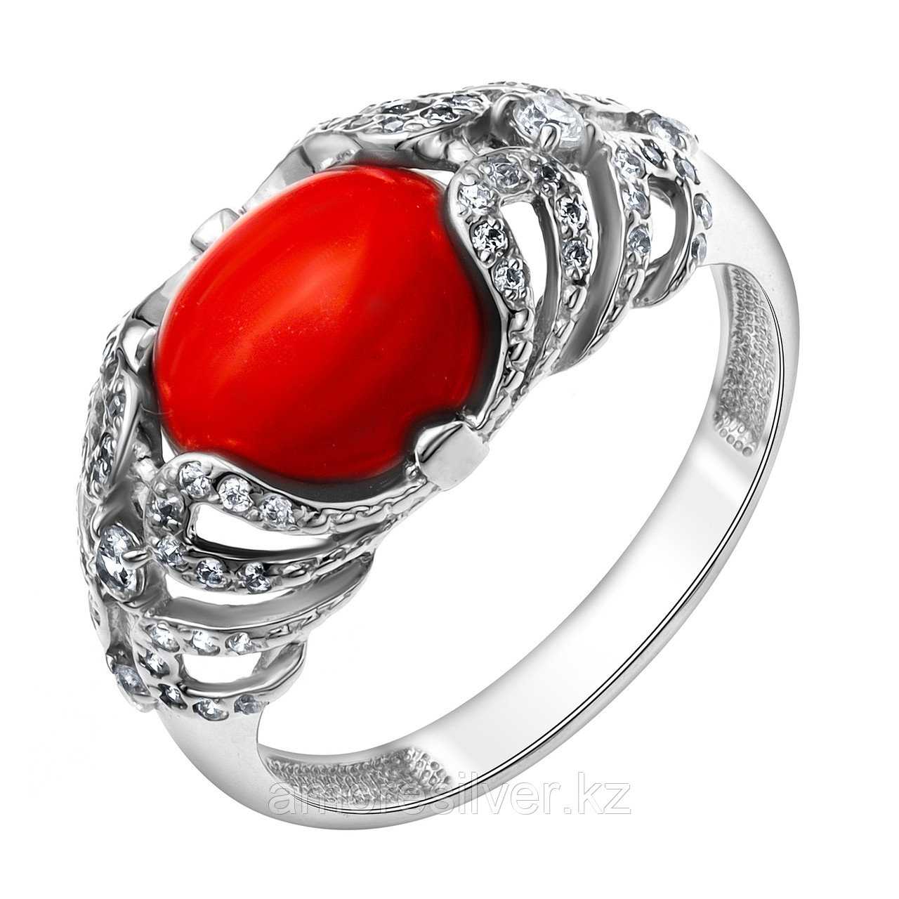 Серебряное кольцо с кораллом MASKOM 18  1000-0208-CRL-r