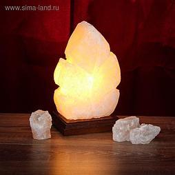 """Соляная лампа """"Лист"""" цельный кристалл, 22,5 см × 13,5 см × 13,5 см, 2-3 кг"""