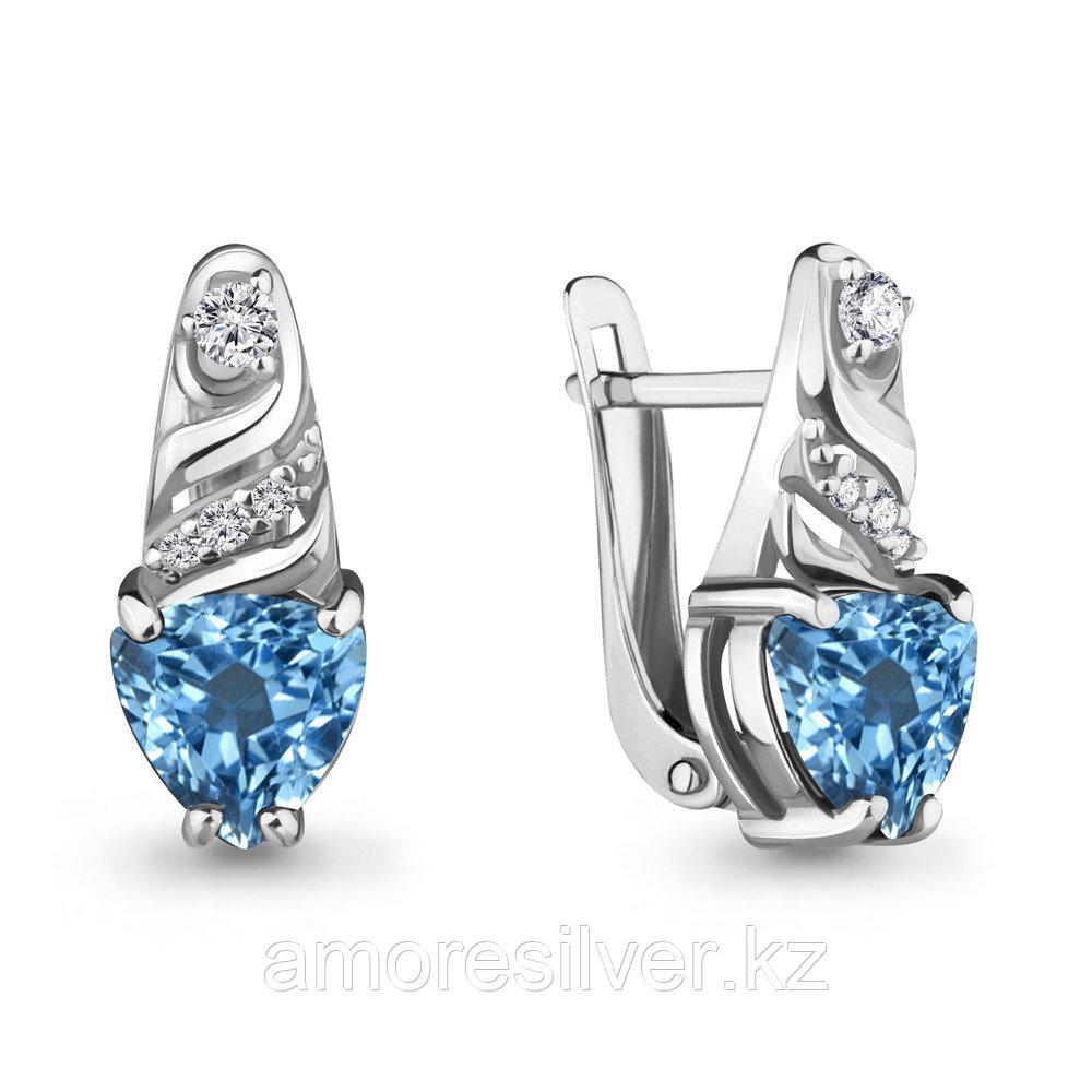 Серебряные серьги с и фианитом  Aquamarine 4469905А