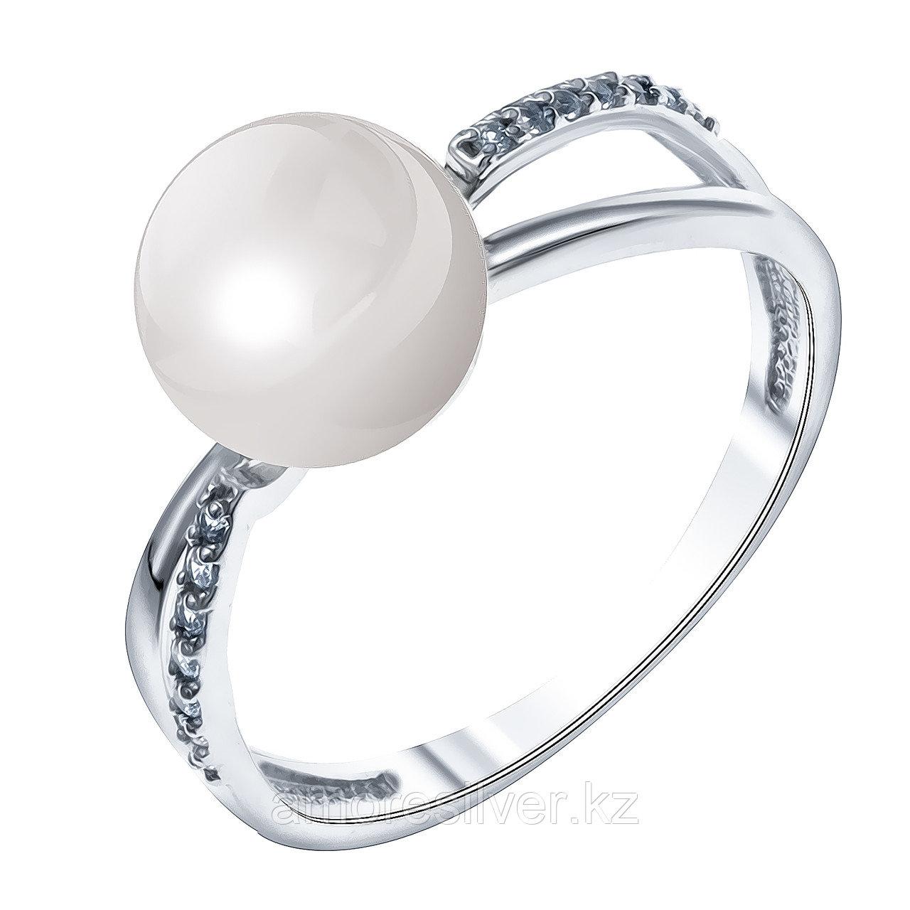 Серебряное кольцо с фианитом и жемчугом культ.  Teosa 190-5-422Р