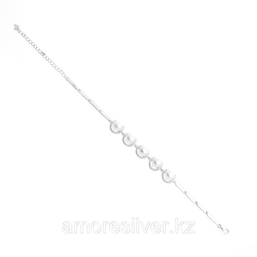 """Браслет Teosa серебро с родием, жемчуг фианит, """"каратник"""" QBALG02257-W"""