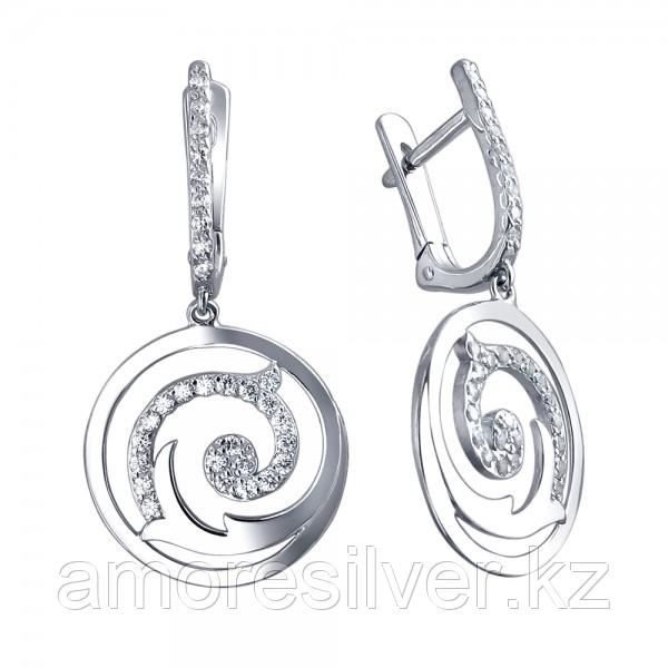 Серьги из серебра с фианитом  Эстет 01С155020
