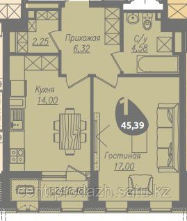 1 комнатная квартира в ЖК Асем Тас 2 45.39 м²