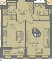 1 комнатная квартира в ЖК Асем Тас 2 45.39 м², фото 1