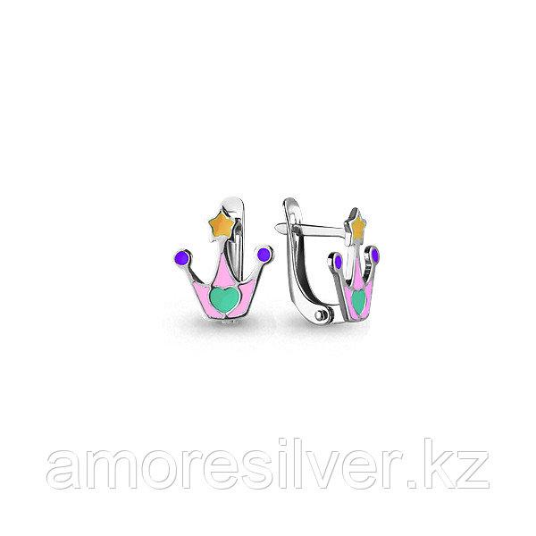 Серьги Aquamarine серебро с родием, без вставок,  33139