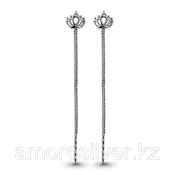 Серьги Aquamarine серебро с родием, фианит, корона 45474А