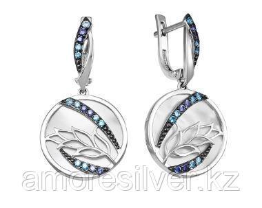 Серьги из серебра с фианитом и перламутром  Teosa С625-5375М2