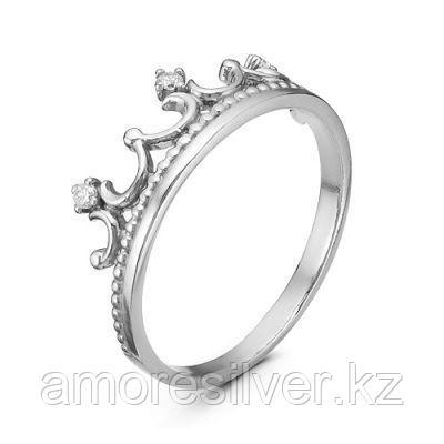 Кольцо Красная Пресня серебро с родием, фианит, корона 2389878Д