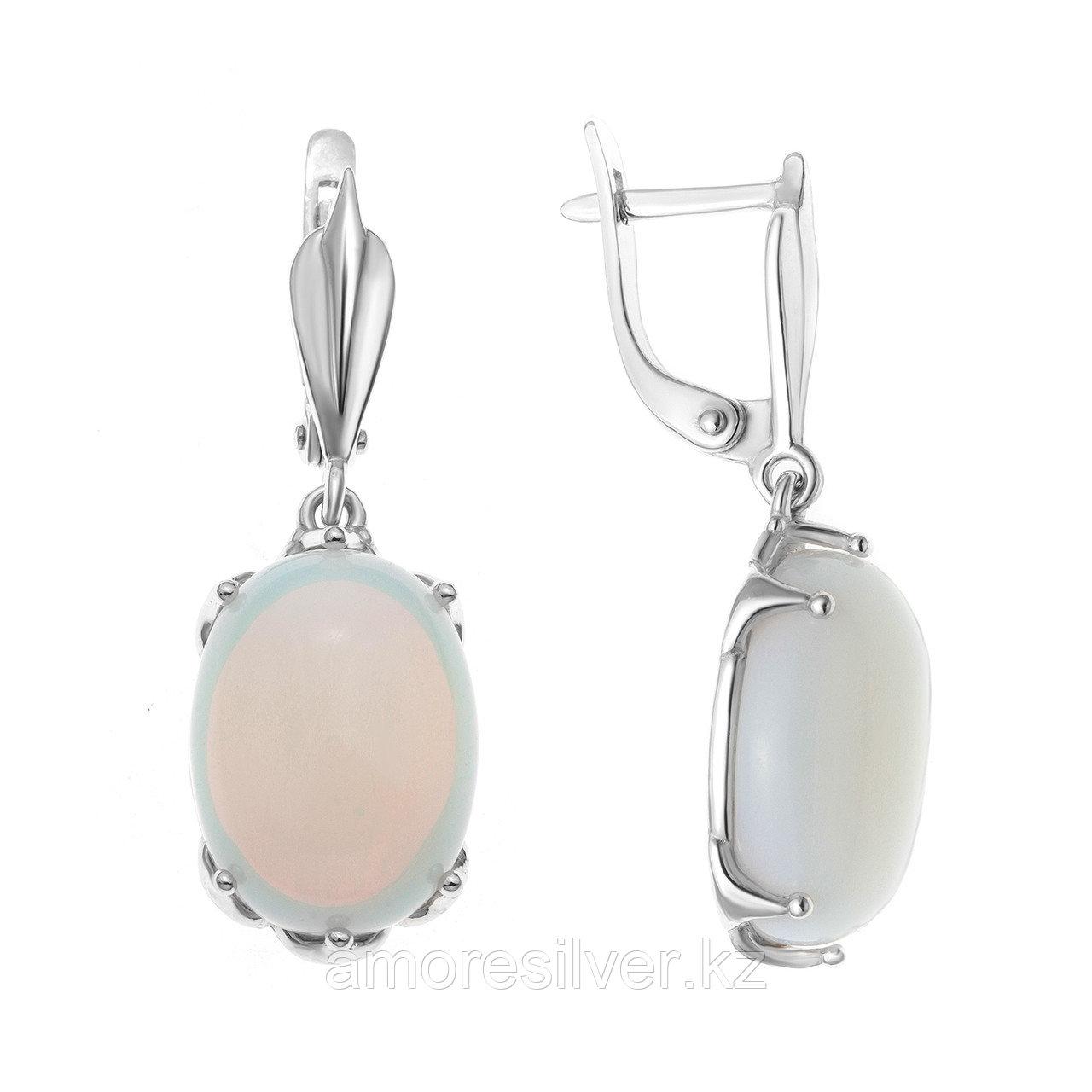 Серебряные серьги с лунным камнем  Приволжский Ювелир 351293-MNS