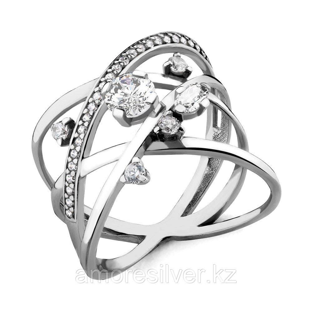 Кольцо Aquamarine серебро с родием, фианит, геометрия 68058А