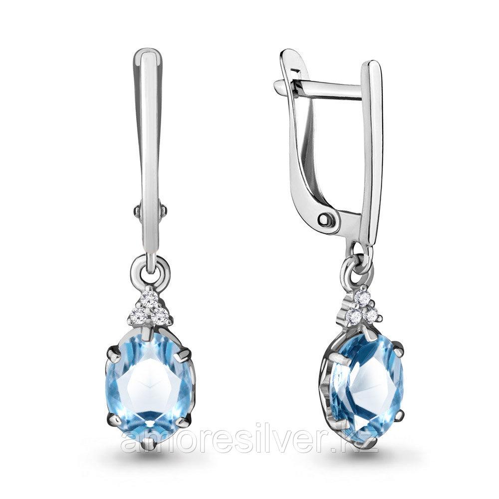 Серебряные серьги с  и фианитом  Aquamarine 4717205А