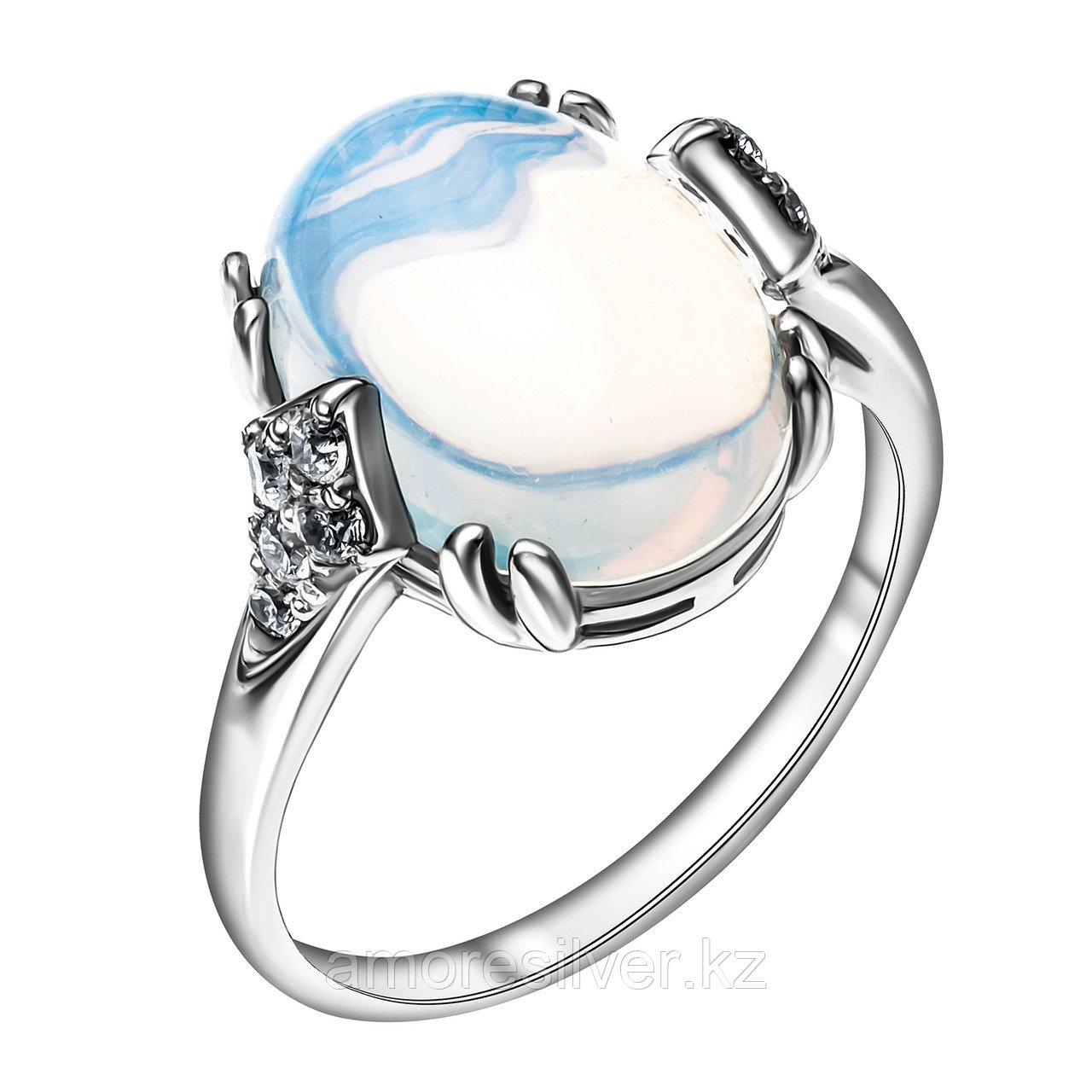 Кольцо из серебра с лунным камнем и фианитом  Приволжский Ювелир 251131-MNS