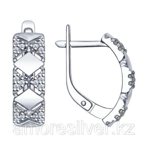 Серьги из серебра с фианитом  SOKOLOV 94022421