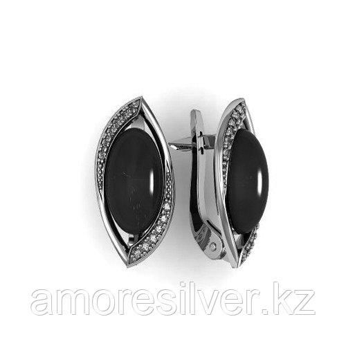 Серьги Приволжский Ювелир серебро с родием, бирюза фианит, овал 361183