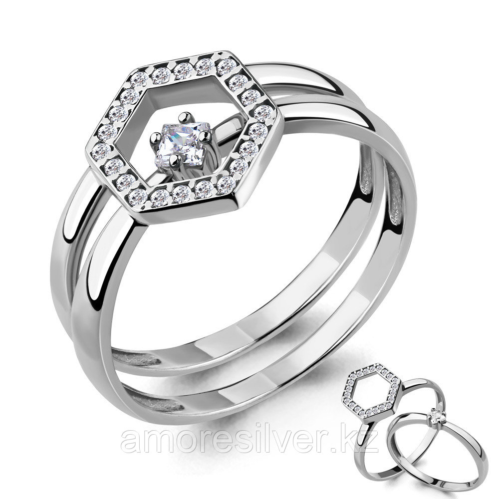 Кольцо из серебра с фианитом  Aquamarine 68322А