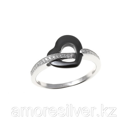 Кольцо Teosa серебро с родием, керамика фианит, символы RCS-429-B