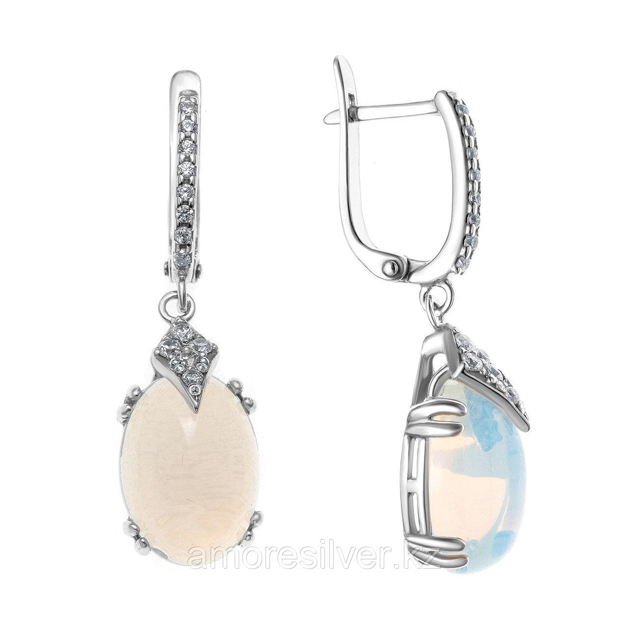 Серьги из серебра с лунным камнем и фианитом  Приволжский Ювелир 351210-MNS