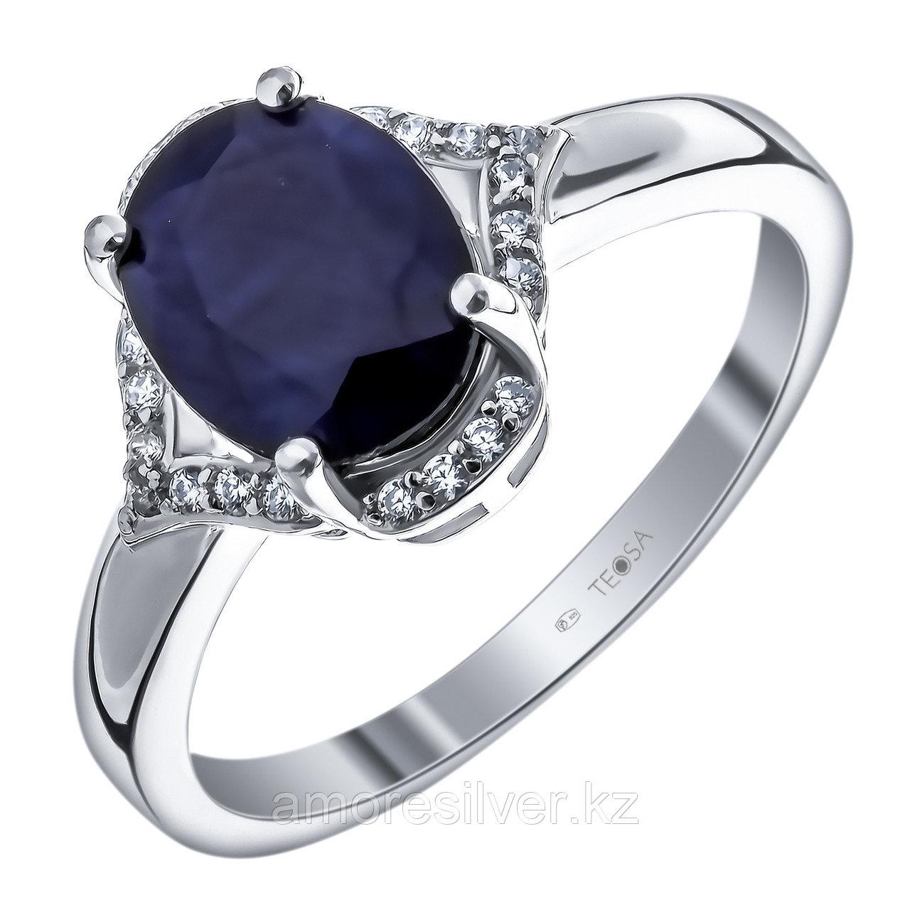 "Кольцо Teosa серебро с родием, сапфир топаз, ""halo"" R-DRGR00398-SP-T"