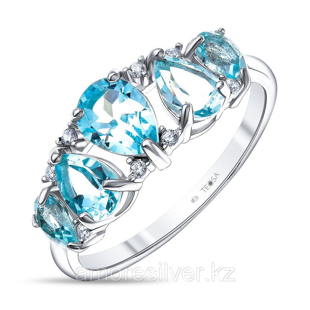 Кольцо Teosa серебро с родием, топаз фианит, многокаменка R-DRGR00866-T размеры - 19,5