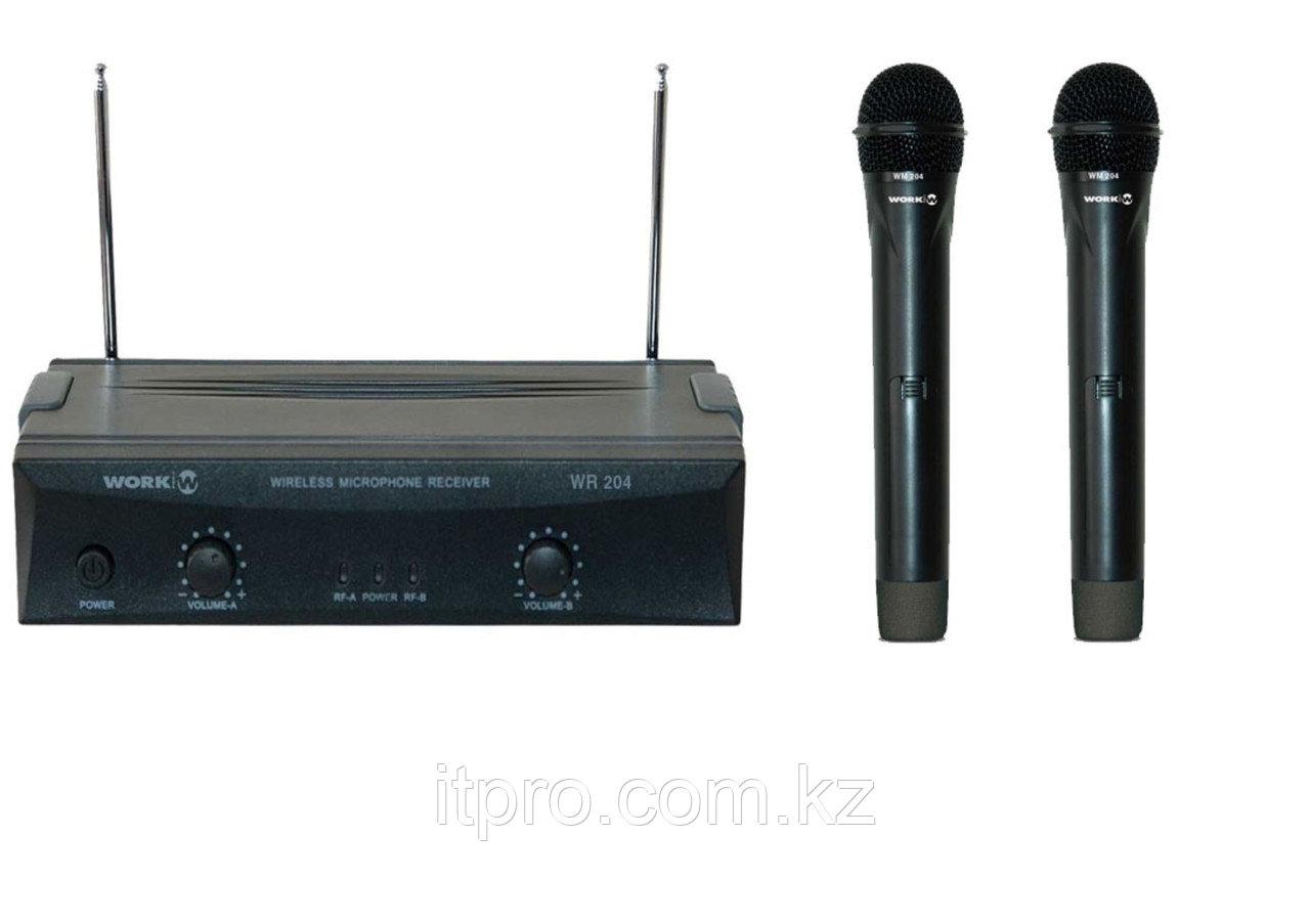 Комплект беспроводных микрофонов WORK WR 204/1, 2 канала УВЧ