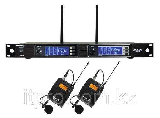 Комплект из 2-х беспроводных петличных микрофонов WORK WR 2200/2, 2x200 каналов