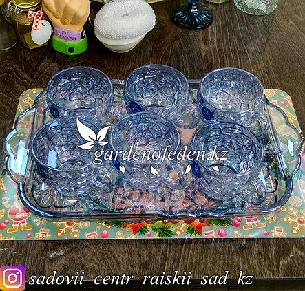Кружки с подносом, стеклянные. Цвет: Синий-Полупрозрачный. Набор: 6 кружек + поднос., фото 2