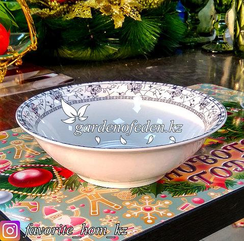 Тарелка суповая, с узором. Цвет: Белый. Материал: Керамика. Набор: 6 штук., фото 2