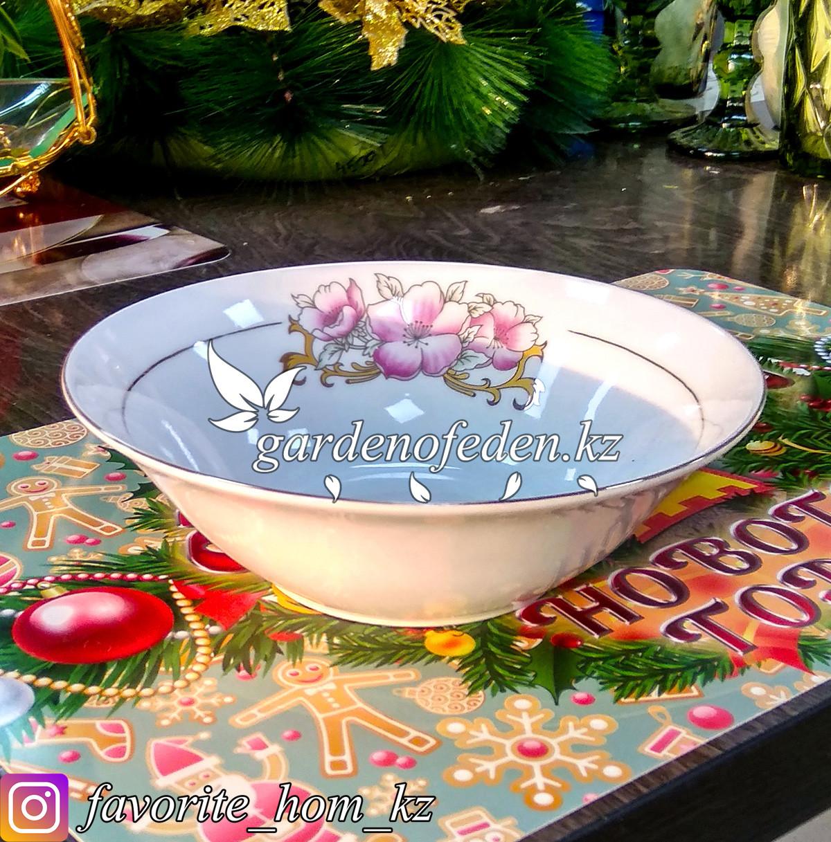 Тарелка суповая, с узором. Цвет: Белый. Материал: Керамика. Набор: 6 штук.