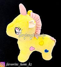 """Мягкая игрушка """"Единорог"""". Цвет: Желтый. Материал: Бархат/Плюш."""