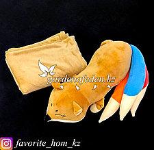 """Мягкая игрушка-подушка с пледом """"Лиса"""". Цвет: Коричневый. Материал: Бархат/Плюш."""