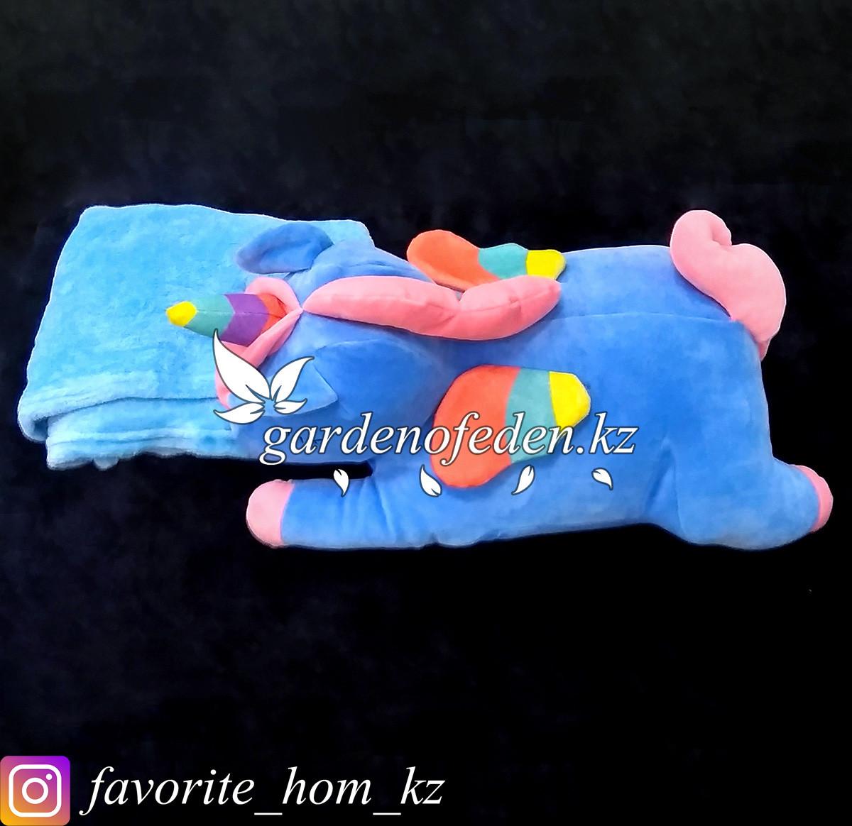 "Мягкая игрушка-подушка с пледом ""Единорог"". Цвет: Синий. Материал: Бархат/Плюш."