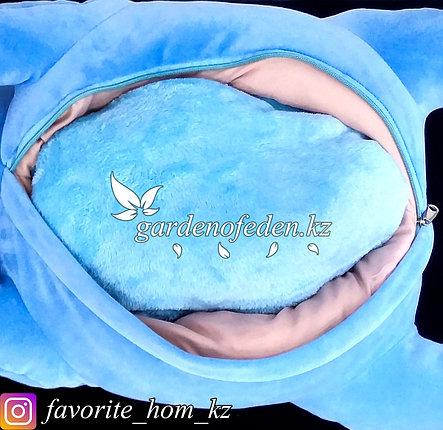 "Мягкая игрушка-подушка с пледом ""Единорог"". Цвет: Синий. Материал: Бархат/Плюш., фото 2"