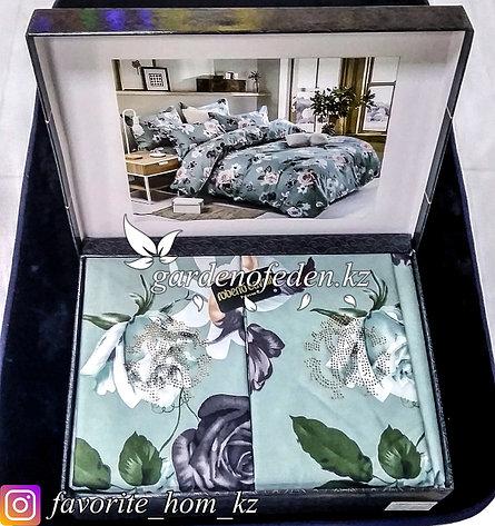 Комплект постельного белья Roberto Cavalli. Декор: Цветы. Цвет: Бирюзовый., фото 2