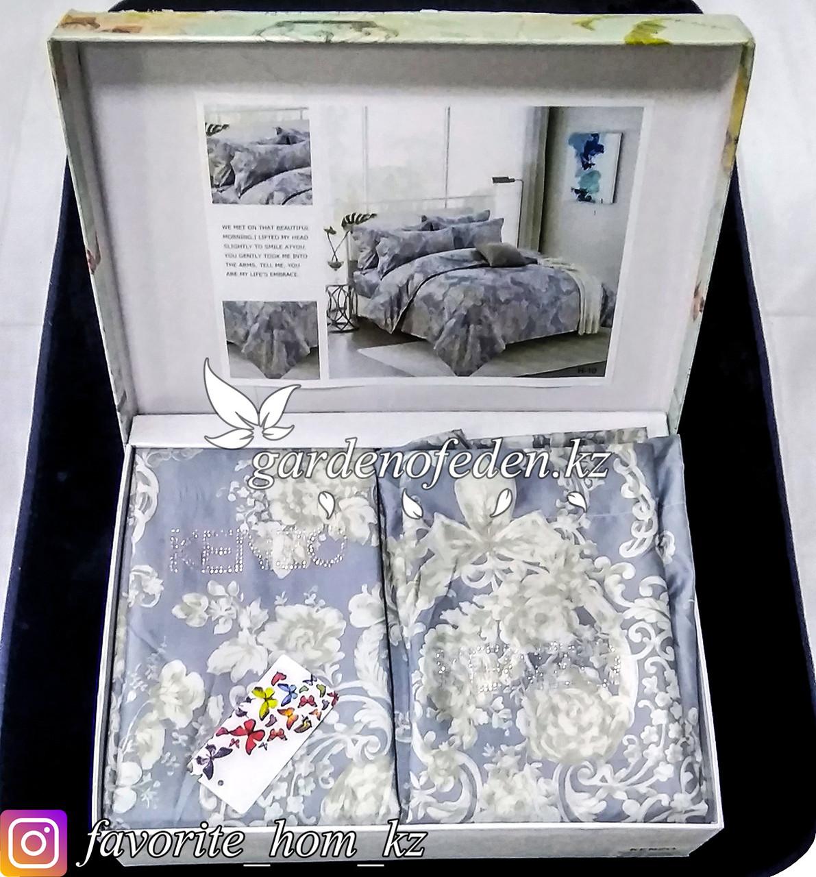 Комплект постельного белья Kenzo. Декор: Цветы. Цвет: Серый.