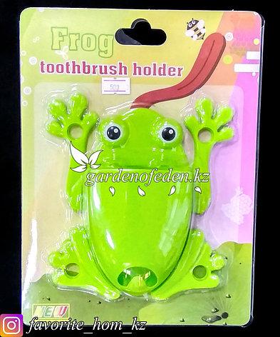 """Держатель для для зубных щеток/пасты, настенный """"Лягушка"""". Материал: Пластик. Цвет: Зеленый., фото 2"""